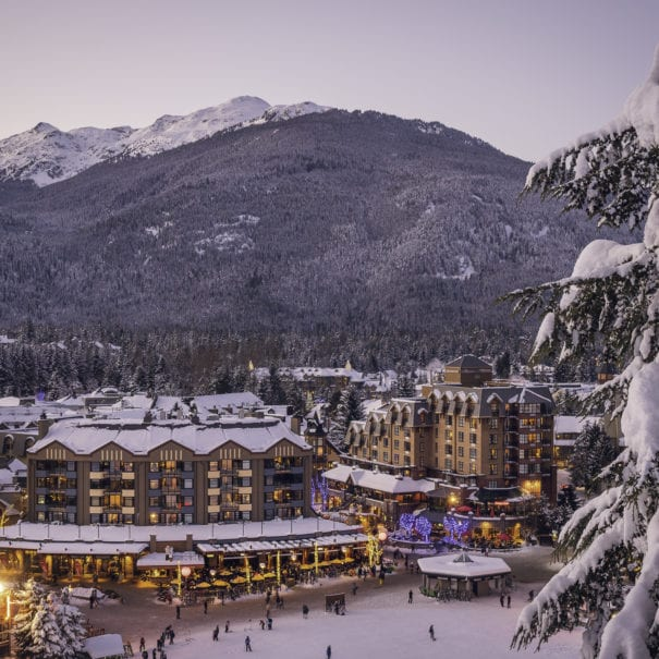 The village lit up for New Years Eve in Whistler Blackcomb.